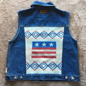 Pendleton American flag denim vest